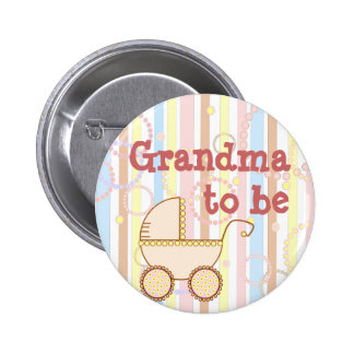 """Cochecito de niño rosado - """"abuela a ser"""" Pin"""