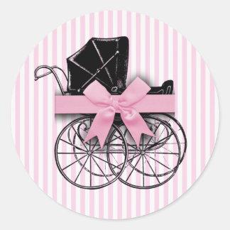 Cochecito de niño rosado del carro de bebé del pegatina redonda
