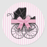 Cochecito de niño rosado del carro de bebé del vin pegatinas redondas