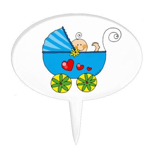 Cochecito de niño y bebé, fiesta de bienvenida al  figuras de tarta