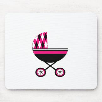 Cochecito rosado mouse pads