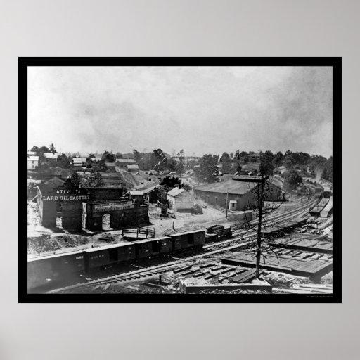 Coches 1864 de la fábrica y de ferrocarril del ace posters