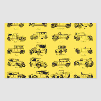 coches antiguos fondo amarillo label rojo retro rectangular altavoz