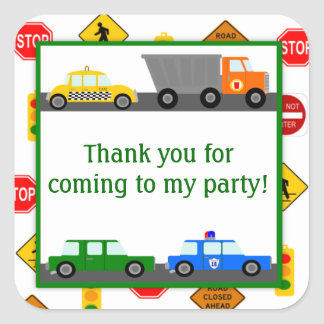 Coches, camiones y fiesta de cumpleaños de las pegatina cuadradas personalizada