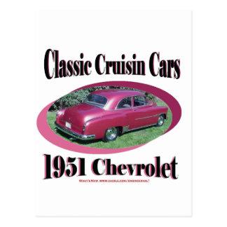 Coches clásicos de Cruisin Chevrolet 1951 Postales