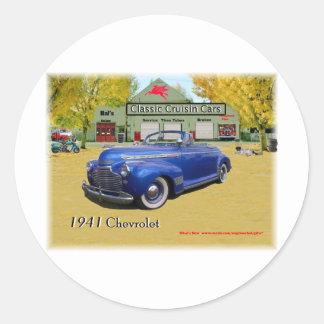 Coches clásicos de Cruisin Chevy 1941 Pegatina Redonda