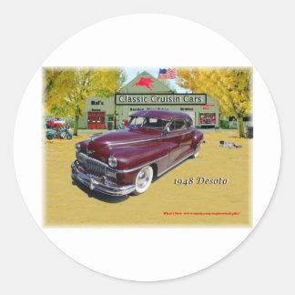 Coches clásicos de Cruisin Desoto 1948 Pegatina Redonda