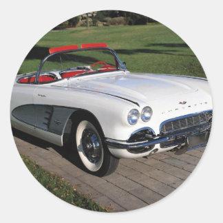 Coches clásicos del vintage de los automóviles de pegatina redonda