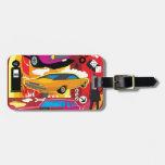 Coches coloridos brillantes enrrollados etiqueta para maleta