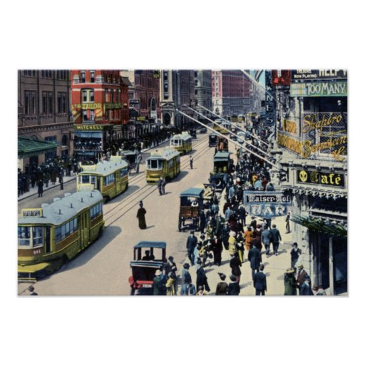 Coches de la calle de New York City en Broadway Poster