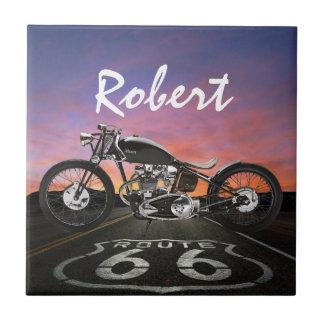 Coches de la motocicleta del vintage - ruta 66 - S Azulejo Cuadrado Pequeño
