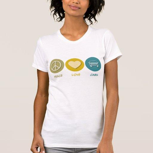 Coches del amor de la paz camisetas