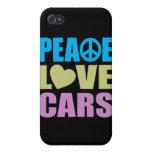 Coches del amor de la paz iPhone 4 fundas