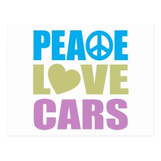 Coches del amor de la paz tarjeta postal