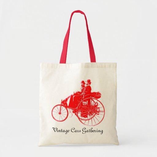 Coches del vintage que recolectan, rojos y blancos bolsa tela barata