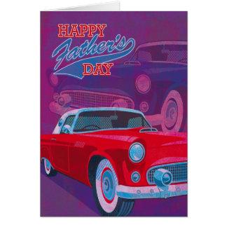 Coches felices de la obra clásica del vintage del tarjeta de felicitación
