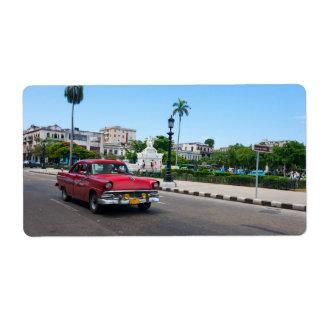 Coches retros en la calle de La Habana Etiquetas De Envío