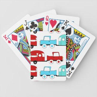 Coches rojos retros del vintage de la turquesa del barajas de cartas