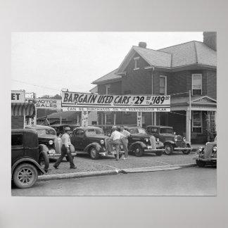 Coches usados del negocio, 1938 poster