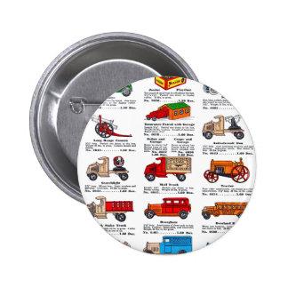 Coches y camiones retros del catálogo del juguete  pin redondo de 2 pulgadas