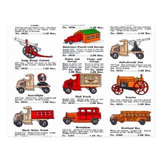 Coches y camiones retros del catálogo del juguete postal