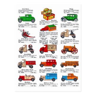 Coches y camiones retros del catálogo del juguete postales