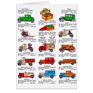 Coches y camiones retros del catálogo del juguete  tarjeta de felicitación