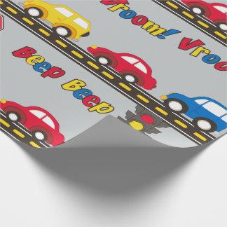 Coches y carretera del juguete de los niños papel de regalo