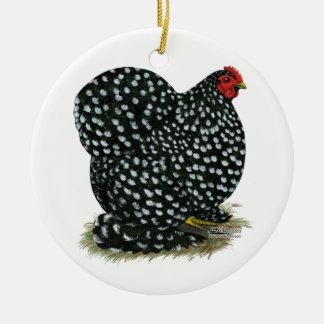 Cochin abigarró la gallina adorno redondo de cerámica