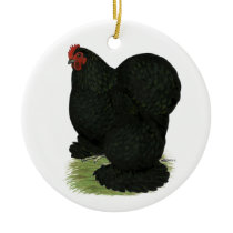 Cochin:  Black Hen Ceramic Ornament
