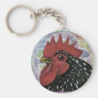 Cochin:  Cabeza decorativa del gallo Llavero Redondo Tipo Pin