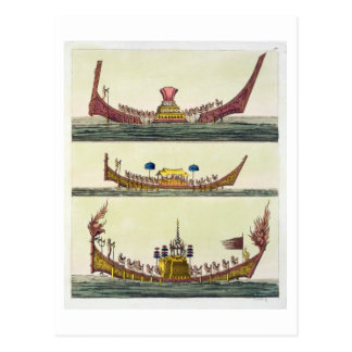 Cochin Chinese ships, illustration from 'Le Costum Postcard
