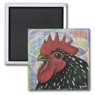 Cochin:  Decorative Rooster Head 2 Inch Square Magnet