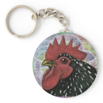 Cochin:  Decorative Rooster Head Keychain