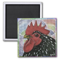 Cochin:  Decorative Rooster Head Magnet