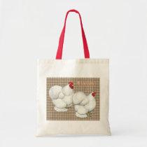 Cochin:  White Bantams Tote Bag