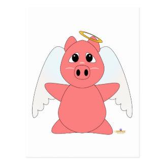 Cochinillo Huggable del rosa del ángel Postal
