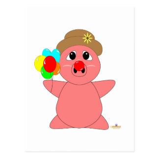 Cochinillo Huggable del rosa del payaso Postal