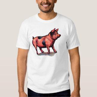 Cochinillo lindo del cerdo del vintage playera