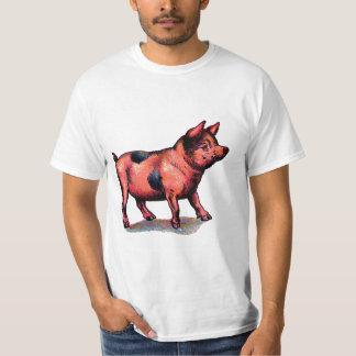 Cochinillo lindo del cerdo del vintage playeras