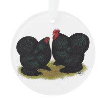 Cochins Black Bantam Pair Ornament