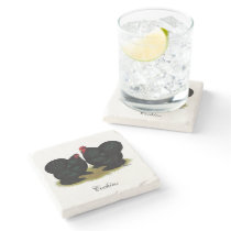 Cochins Black Bantam Pair Stone Coaster