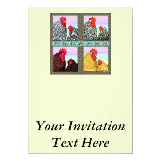 """Cochins cuatro colores invitación 5"""" x 7"""""""