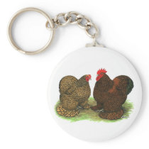 Cochins:  Golden-laced Keychain