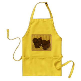 Cochins:  Textured Red Bantams Adult Apron