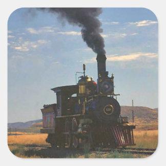 Cocido al vapor al vapor a través del llano pegatina cuadrada