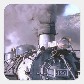 Cocido al vapor al vapor lejos pegatina cuadrada