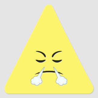 Cocido al vapor de Emoji al vapor Pegatina Triangular