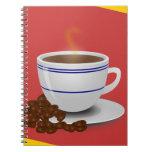 Cocido al vapor de la taza al vapor de café con lo cuaderno