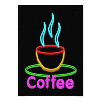 Cocido al vapor de la taza al vapor de café de neó invitación